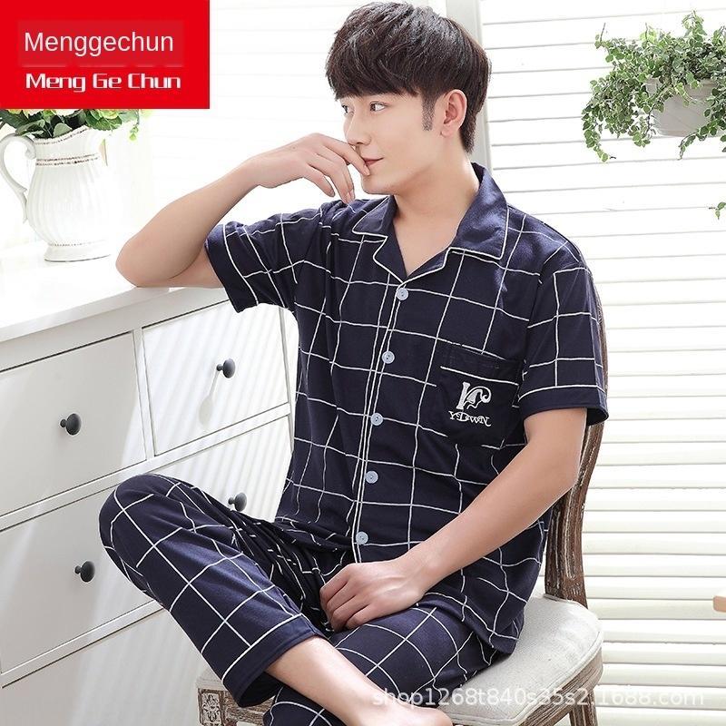 gFJT2 Mengge calças de lã pijamas puros pijama dos homens de algodão dos homens calças de manga curta cardigan de lã de verão terno de algodão fina casa de verão