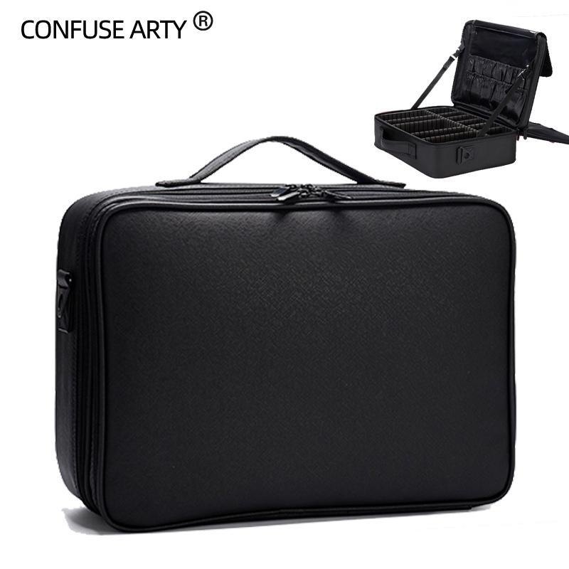 Donne PU cosmetici contenitore portatile di alta qualità Cosmetic Bag grande capienza PU Marca Case Fino Inserire donna borsa trucco