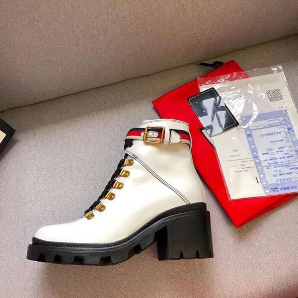 Los zapatos de cuero de alta calidad de la mujer con cordones cinta botas de hebilla de cinturón de tobillo fábrica talón áspera z03 invierno alrededor de la cabeza femenina otoño directa