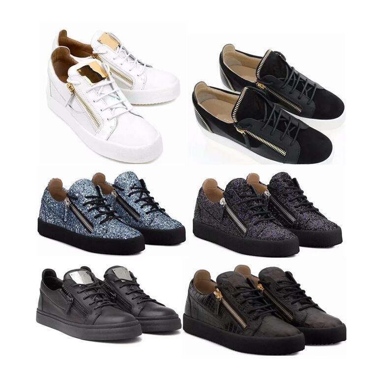 2021 Italia caliente clásico del diseño par de zapatos de cuero genuinos de los zapatos ocasionales de oro de la cremallera de los hombres y mujeres de bajo tamaño superior ocasional zapatillas de deporte 35-47