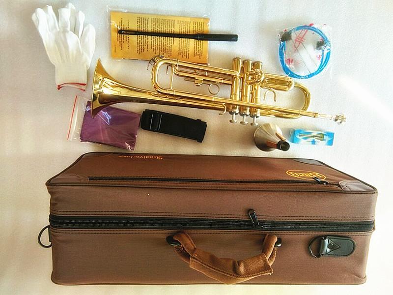 Nuovissimo professionale LT180-43 Bach Bb Tromba Strumenti in ottone dorato intagliato il trasporto strumento musicale Tromba Bb libero