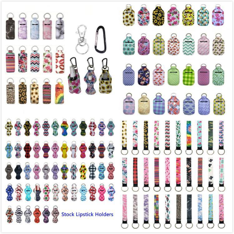 229 stili neoprene Hand Sanitizer supporto di bottiglia Borse portachiavi 30ml Hand Sanitizer bottiglia del cinturino dell'orologio portachiavi Chapstick Holder