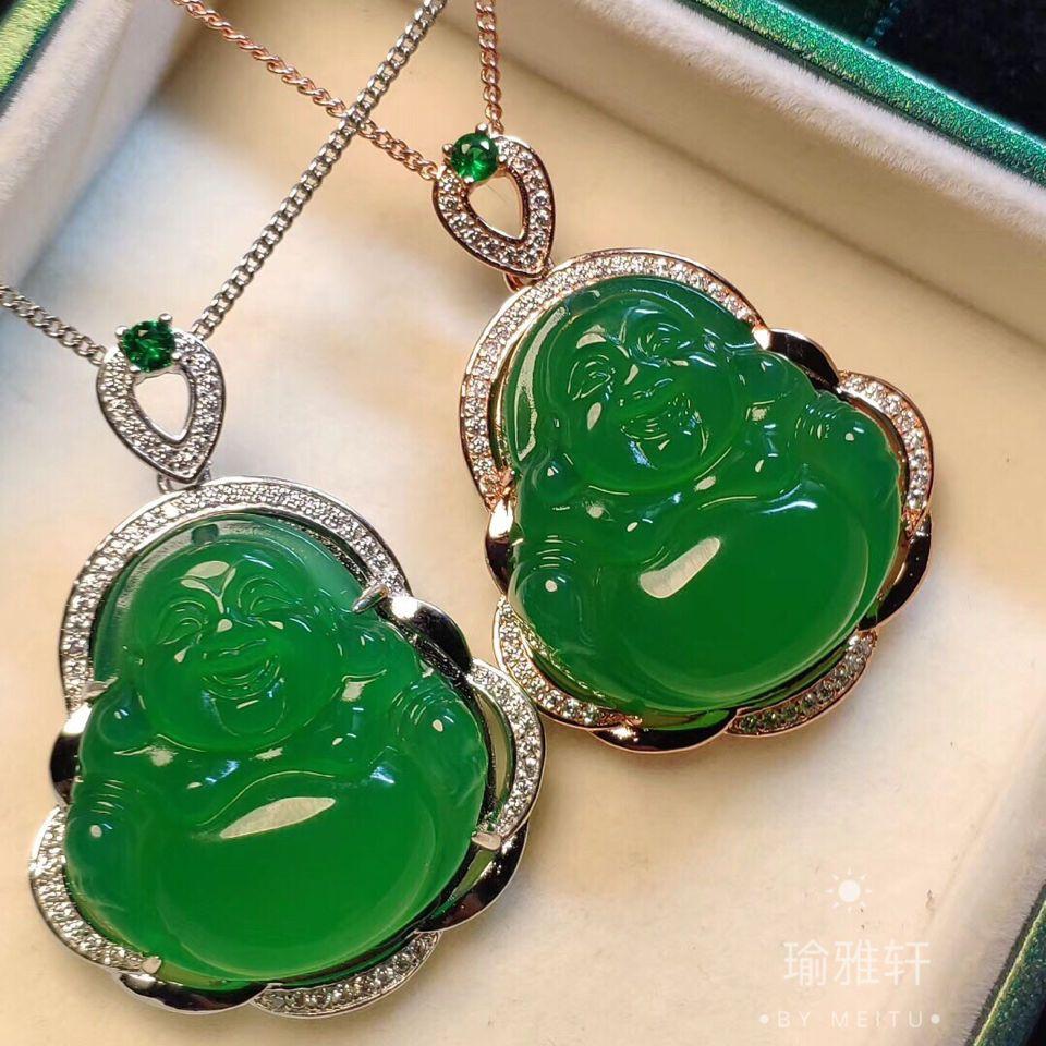 Verde jade pingente Jade Natural Semente Ice Verde Chalcedony Maitreya Big Belly Laughing Buddha Cadeia De Clavícula Colar da prata esterlina