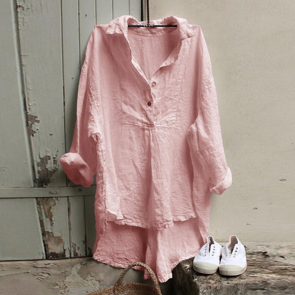 b1Er3 Xinya manga Primavera algodão linho longo camisa das mulheres e V-neck 2020 algodão solto e roupa HUmNI ocasional camisa superior tamanho grande das mulheres