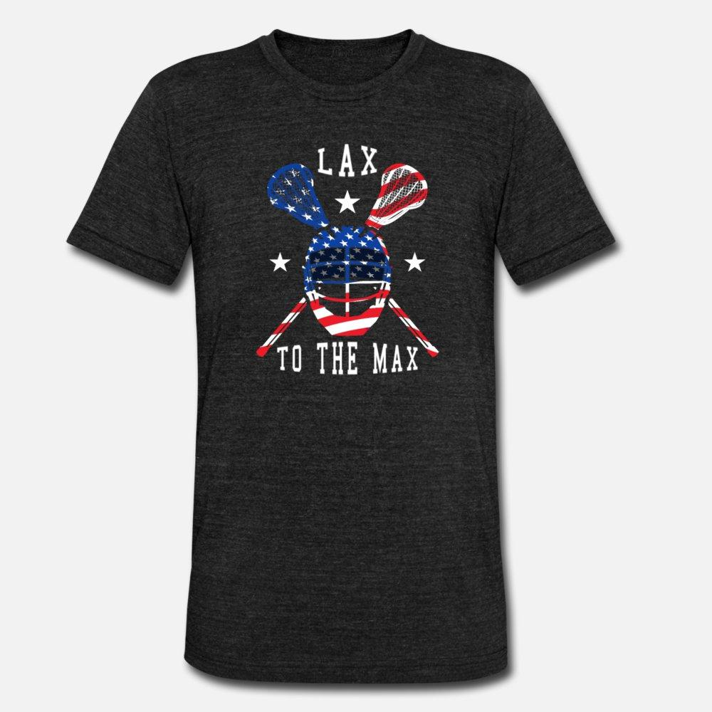 Lacrosse American Flag Lax To The Max Lacrosse uomini della maglietta della camicia di disegno del modello 100% cotone formato S-3XL Normale grafica divertente Primavera Autunno