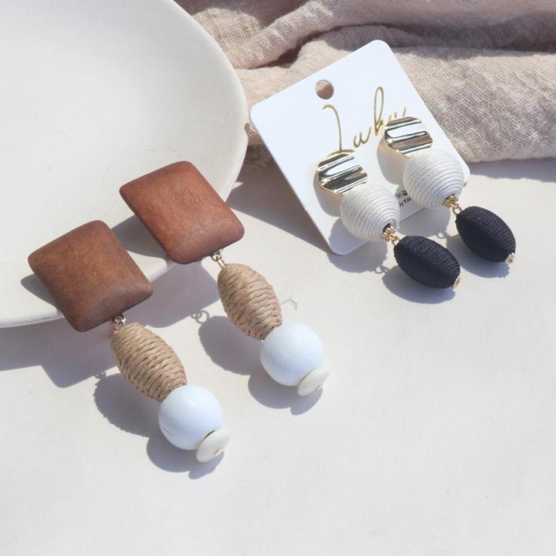 Женщины Jewelry Геометрии Классических льняная Веревка Бал Rattan Хит Цветой древесина Длинной круглые серьги падения