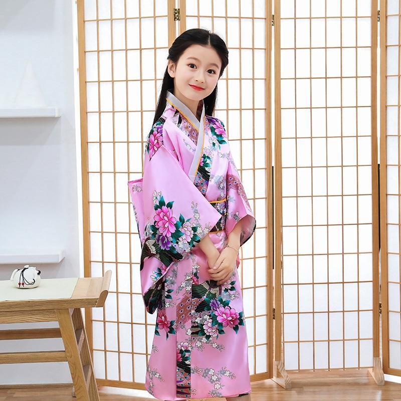 S2Gtf WTMz9 Frühling und Sommer der neuen Kinder des japanischen Bademantel Mädchen Prinzessin Kleid Kleidung Leistung Prinzessin Kleid Kimono Bademantel Kimono