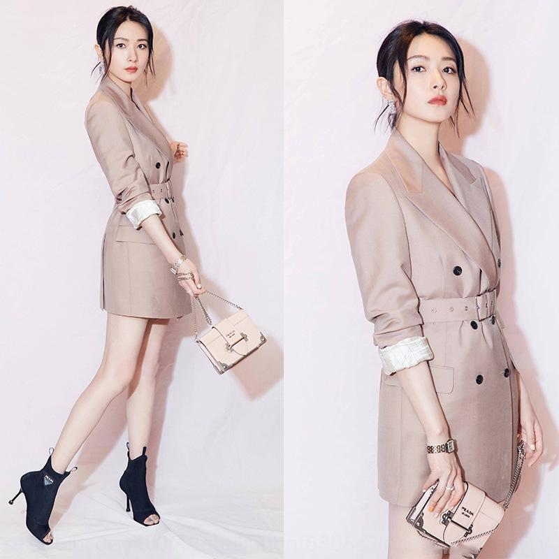 PGWZn gwPfk Stella Wan lungo doppio petto gonna stesso stile di Qian gonna OL piccola cintura vestito vita a tenuta lungo dimagrimento di media lunghezza vestito temperamento