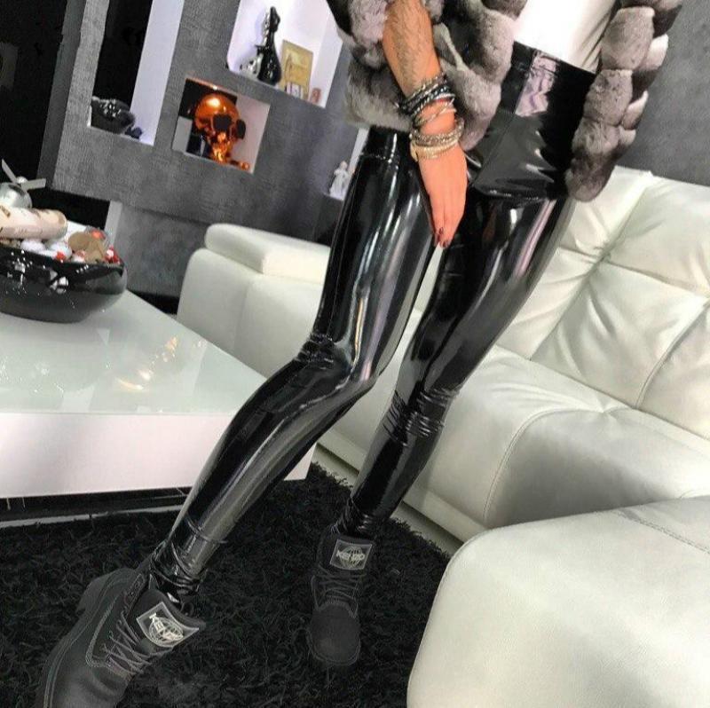 S-3XL Deri Siyah Pantolon Tayt Yüksek Bel Kadınlar Seksi Elastik Sıska Push Up Tayt Streç Jeggings Kadın Legins