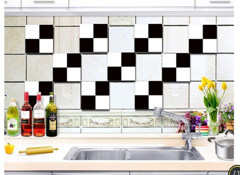 2020 moderno in bianco e nero adesivi aggiornamento impermeabile prova di olio da cucina adesivo 20cm piastrelle di ceramica semplici all'ingrosso con adesivi murali