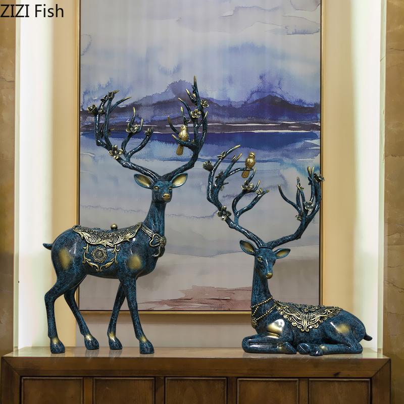 2ST-Set Nordic Tier Ornaments Painted Deer Verzierungs Resin Figuren Schreibtisch Dekorationen Home Decoration Zubehör Moderne