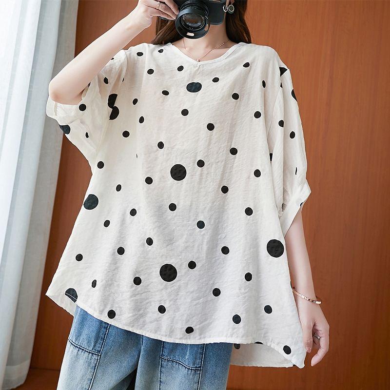 3lMxh Estate allentata superiore lenzuola di cotone maglietta delle donne 2020 nuovo grande formato di Polka dot artistiche cotone e lino T-shirt e top a manica corta