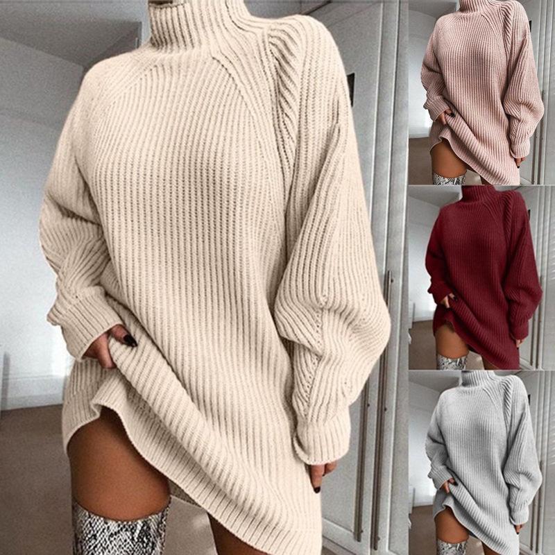 여성 오버 사이즈 니트 드레스 스웨터 가을 고체 긴 소매 캐주얼 우아한 미니 따뜻한 겨울 터틀넥 드레스