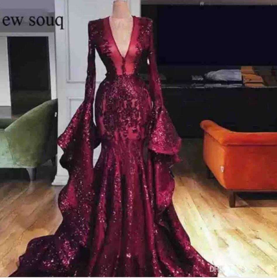 2020 Burgundy Sequin Langarm Abendkleider mit tiefem V-Ausschnitt Mermaid Plus Size Abendkleider Poet durchschauen Pageant Kleider