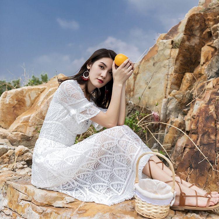 IwSsz полый из лета кружева кисточки Женского высокой талии для похудения средней длиной приморского F340 юбка платья юбка отпуск пляж платье пляж