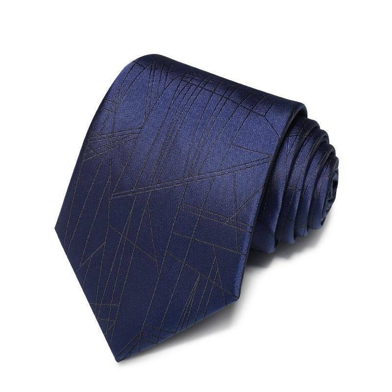 Hediye Kutusu ile Erkekler Kravat Çalışma İş Örgün Suit Yüksek Kaliteli 2020 Tasarımcı Yeni Moda Siyah Hatları Lacivert 8 cm Bağları