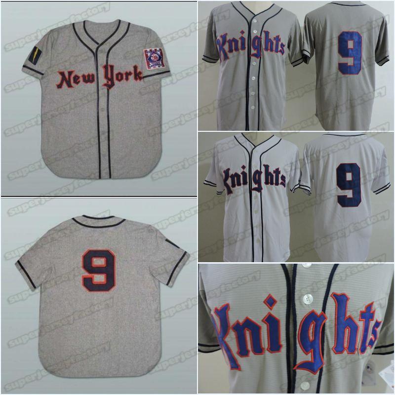 1939 York Knights Road 9 Roy Hobbs Baseball Jersey Personalized High Quality Fast Shipping Cheap Baseball Jerseys