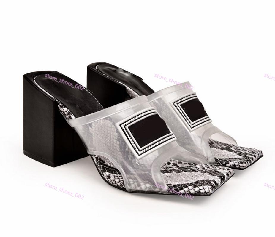 Versace high heel sandals donne trasparente tacco medio sandali tacco alto Mules diapositive superiore del PVC con pelle Suola fatta in Italia 9 centimetri sandali / 12 cm