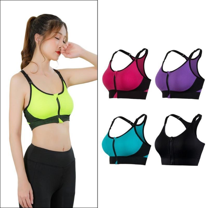 Atacado Mulheres ajustável Sports Bra Yoga Fitness Ténis Correndo Wirefree Zipper Sports Bra Arrefecer Seamless grátis Navio