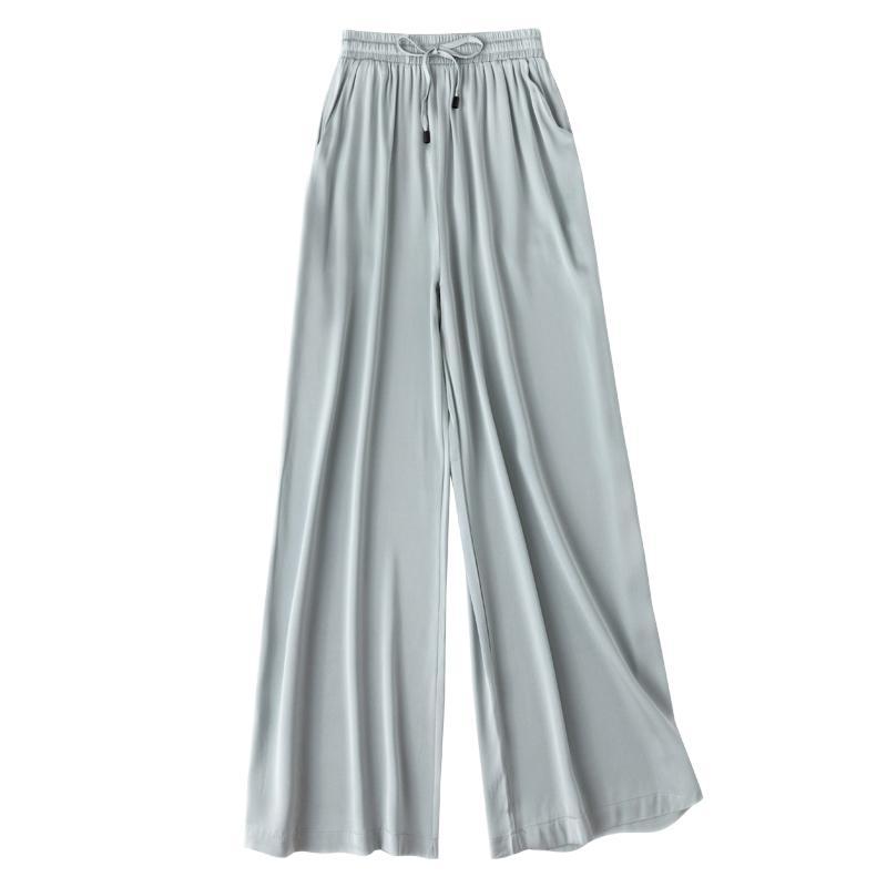 2020 New Women Summer Autumn Natural Silk Pants Silk Loose Style Trousers Work Wear Holiday wide leg blue Pants