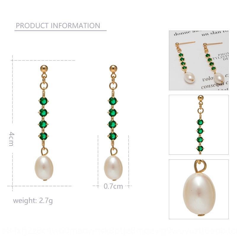 간단한 패션 새로운 14K 골드 주입 담수 쌀 모양의 진주 귀걸이 녹색 쌀 진주 귀걸이 귀걸이