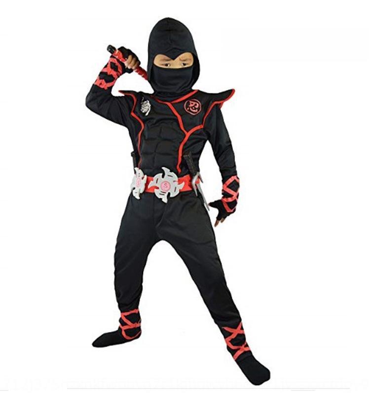 Nueva cosplay de Halloween muscular Ninja rendimiento de los niños Negro cosplay nueva tela de rendimiento niños clothingNinja muscular ropa de Halloween
