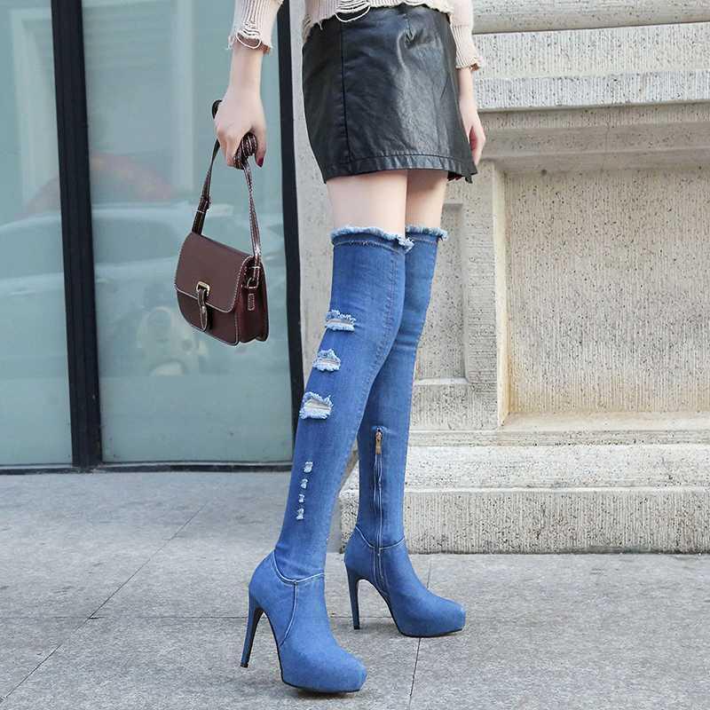 Denim над коленом Boots Женщины Весна Осень Fashion11.5 Cm Супер Высокий каблук острым носом Тонкий высокие сапоги Популярные
