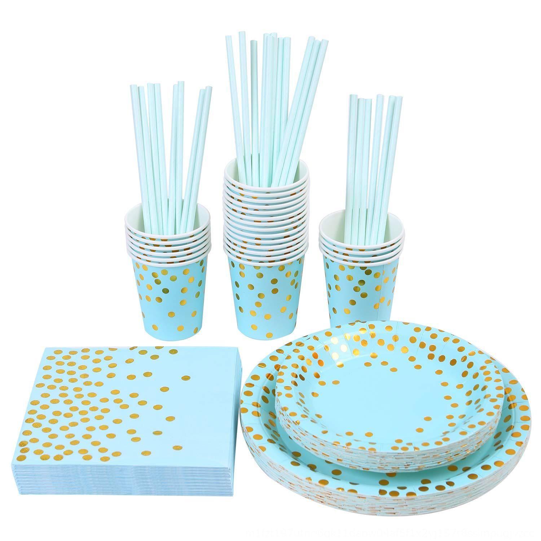 pFRgX 25 Einweg-Papierfach Cup Hochzeit blau / rosa Gäste 150PCS 150PCS Einweggeschirr Papierfach Geschirr Serviette napkinnapkin Cup w
