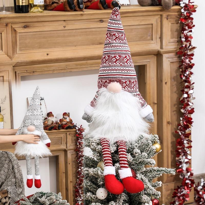 Gnome árbol de navidad topper sueco tomte gnomo ornamentos santa gnomes felpa escandinava decoraciones navideñas navidad casa de vacaciones dhe1250