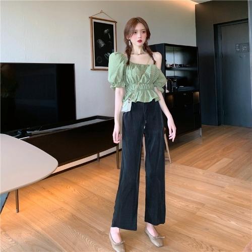 Kanuo ~ короткого рукава клетчатой рубашки девочек пузырь рукав плечо + вертикальная солнцезащитной широкоэкранной широких ноги брюки рубашки широкой ноги брюки c8SWh