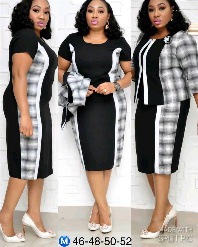 Crew Neck Designer Female Tracksuits Plus Size Women Tracksuits Plaid Panelled Two Piece Dresses Applique Half Sleeved