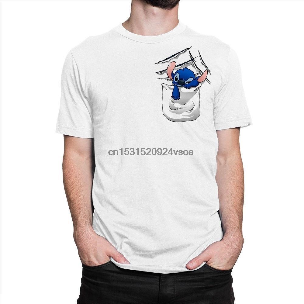 Stitich em um bolso dos homens T-shirt T gráfico casual tops de manga curta S-3xl