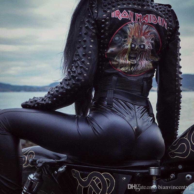 Diseñador para niñas Sportwear de la aptitud de la PU de las polainas para mujer de la marca de moda los pantalones de cuero flaco Casule pantalones moto lápiz