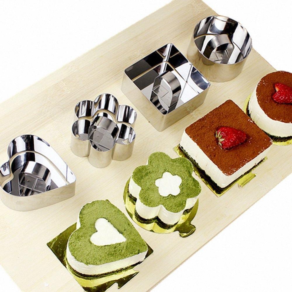 Mini mousse di cioccolato muffa di figura del quadrato dell'acciaio inossidabile rotonda Cuore Torta della mousse mousse modella Anello cucina fai da te di cottura Strumenti FFA3394B Ny5T #