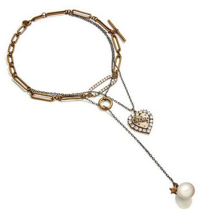 amantes de jóias americanas e multi-camada de coração pingente de colar de pérolas venda quente jóias pingente livre do transporte do vintage 1pc Epacket