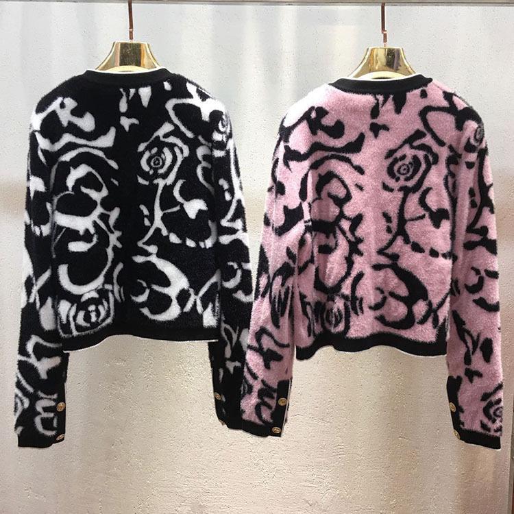Новая Camellia вязаный кардиган свитер круглые шеи леопардовый печать цветок с длинным рукавом куртка свитер бесплатная доставка