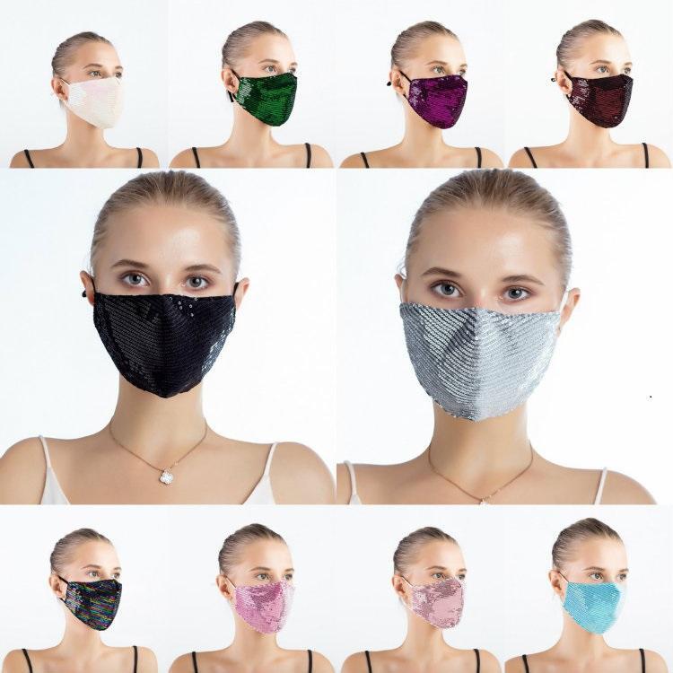 NOUVEAU bling bling coloré Sequin poussière masque extérieur et protection solaire lavable été réutilisable mince masque de conception perméable à l'air 16color T50079