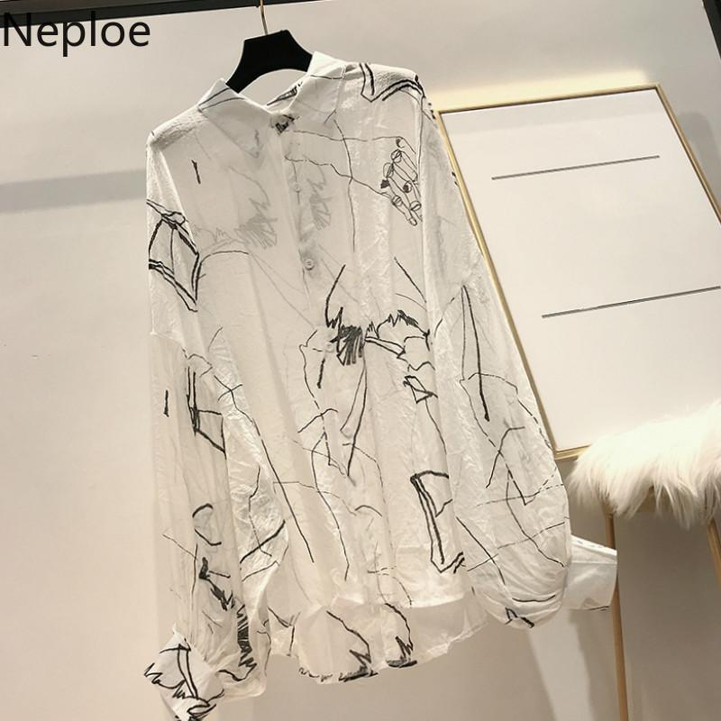 Neploe Harajuku Print Women Shirts Summer 2020 Turn-Down Collar Batwing Sleeve Blouse Loose Sunscreen Ladies Tops 44659 CX200820