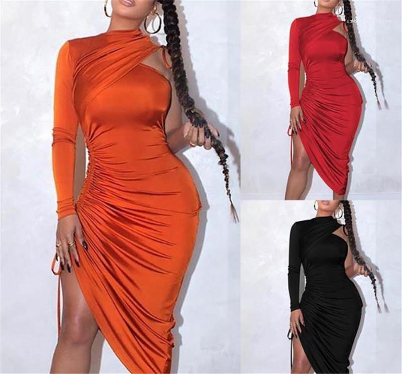 Elbiseler Moda Seksi Dantel Yukarı Asimetrik BODYCON Elbiseler Moda Katı Renk Parti Elbise Tek Omuz Kadınlar Tasarımcı