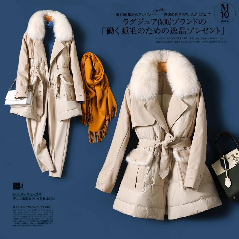 90% weiße Entendaunen unten Jacken-Frauen-Kurzschluss-Art 2020 Winter New Fashion Coat Thin Covered Knopf justierbare Taille