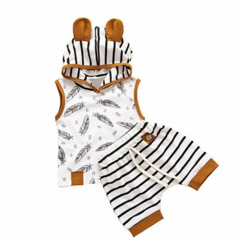 Los niños recién nacidos muchachas de los bebés Imprimir sin mangas con capucha Tops rayas de los pantalones cortos de moda de verano de los cortocircuitos ocasionales Ropa MgJC #
