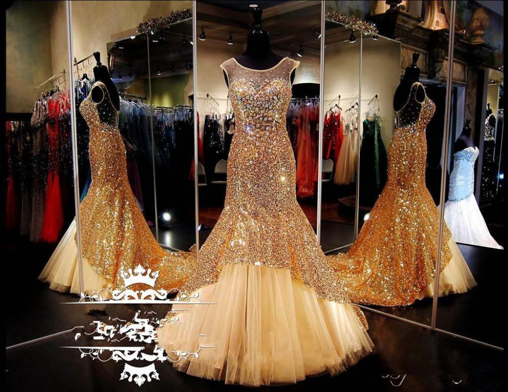 2020 Sheer Scoop Neck Prom Dresses With Tulle Train Sparkling Gold Sequined Mermaid Crystals Women Cheap Formal evening Pageant Dress