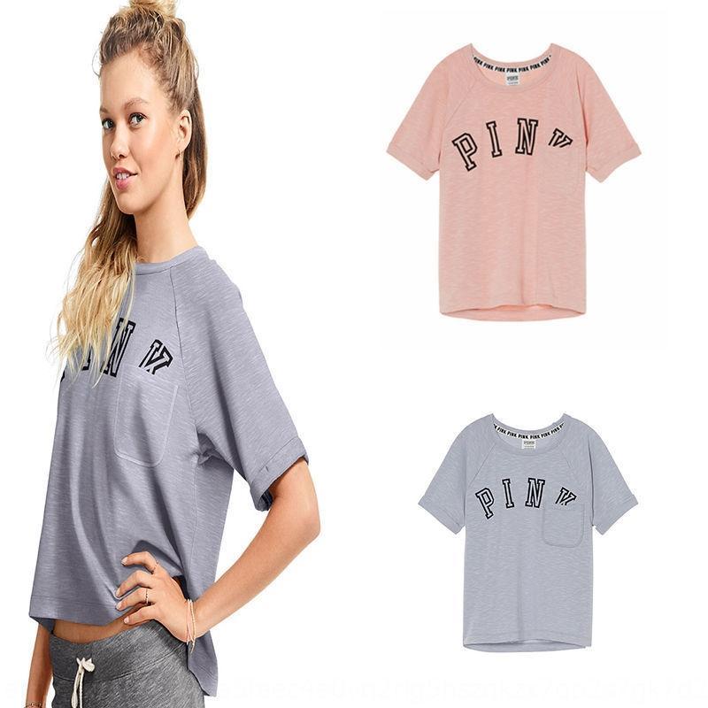 6EzWI 2019 Neue Herbst-Mode für Frauen PINK kurze Ärmel runde T-Shirt T-Shirt-Ausschnitt Tasche gedruckt