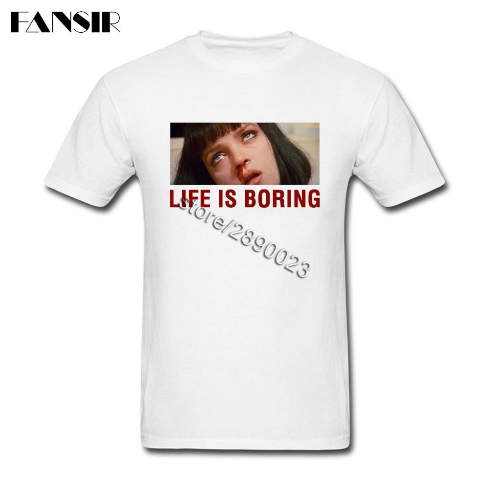 Vida é chata camisetas Geek Homens T Shirt Manga Curta de Algodão em torno do pescoço camiseta para adulto
