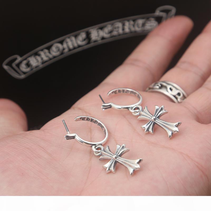 Brand new 925 prata esterlina jóias vintage prata antigo desenhador feitos à mão americano atravessa pingente brincos de argola para as mulheres