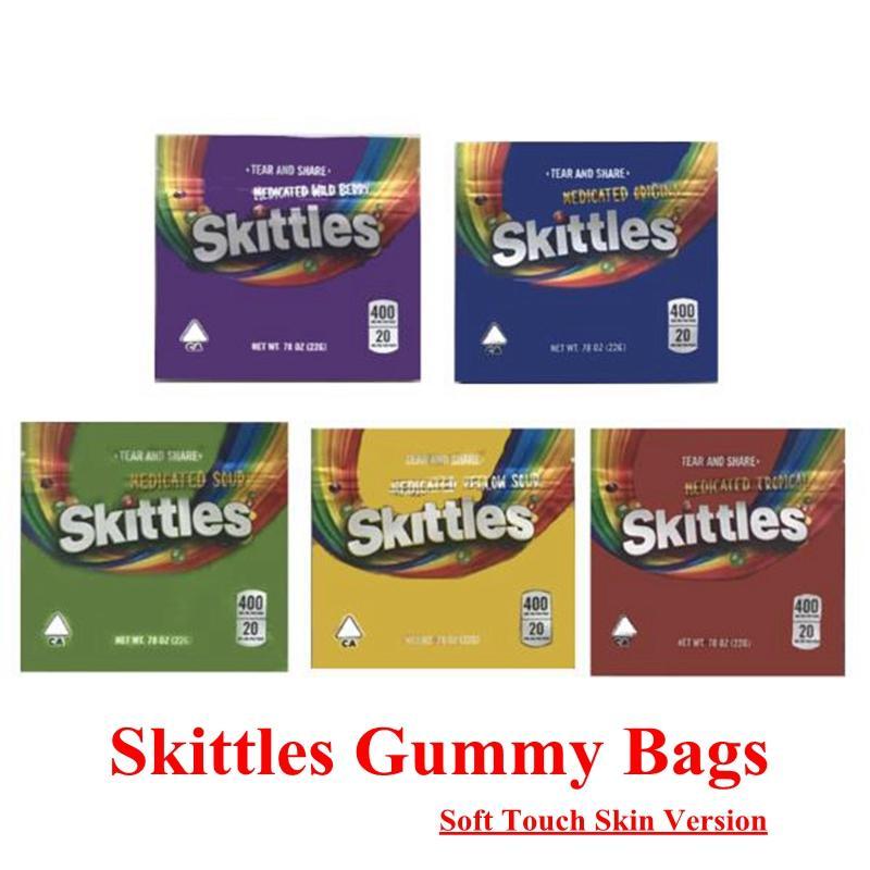 5 tipi Medicated Aid Skittles Edibles Packaging Bags Vuoto Soft Touch Skin 400 mg Pacchetti arcobaleno Arsagliotti A Warhead Caramelle Odore PROVA A PROVA RESALABILE Zipper Zipper Borsa
