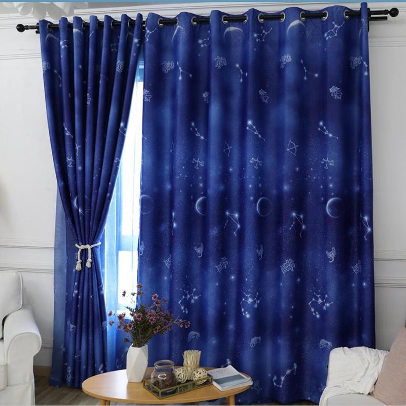Popangel haut Shading 100% polyester Sky Blue Dream Star Design Eco-Friendly Blackout Chambre enfants Fenêtre Rideaux finis