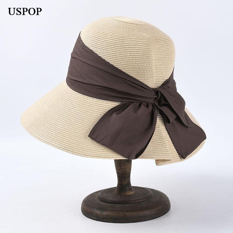 USPOP 2020 Yeni kadın güneş şapka büyük yay yaz şapkaları kadın katlanabilir geniş ağzına plaj şapkası