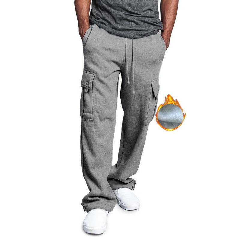 Теплая зима Брюки Мужчины Мода Толстые Серый штанах руно Мульти Карманы Sweatpants Мужской Каузальный Tactical Homme Streetwear