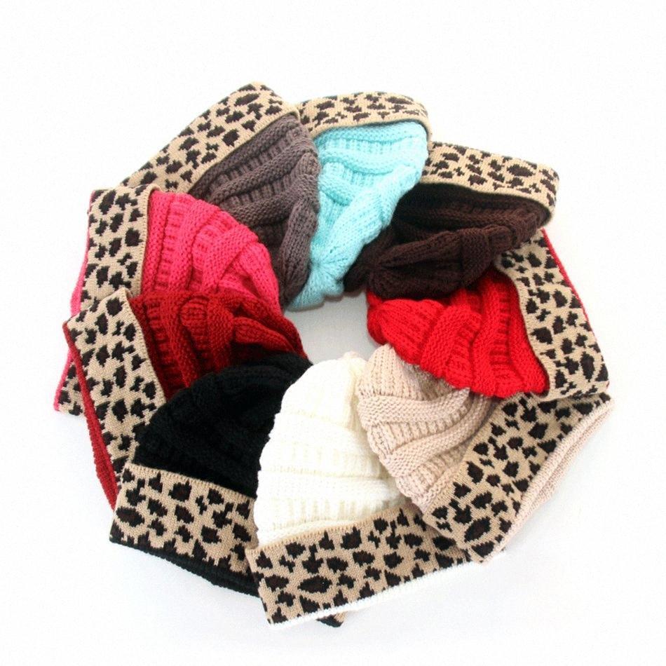 Women Leopard Patchwork Knitted Beanies Winter Women wool Hat Warm Skull Beanie Crochet Ski Outdoor Hot Cap LJJA3525-42 GN67#